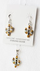 """Sterling silver white opal, tiger eye and black onyx inlay cactus dangle earrings and 18"""" sterling silver box chain necklace set. S041"""