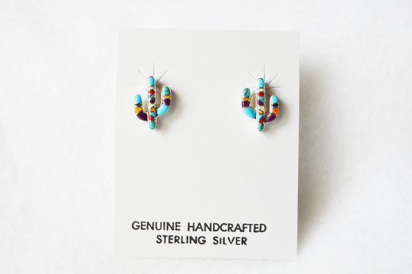 Sterling silver multi color turquoise/opal combo inlay cactus earrings. (E066)