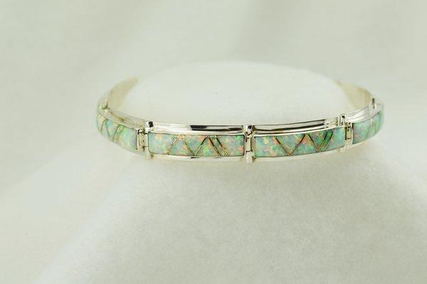 "Sterling silver white opal inlay link 8"" bracelet. B093"