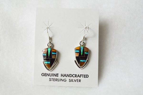 Sterling silver multi stone w/blue opal inlay arrowhead earrings. E074
