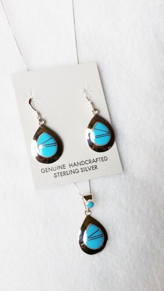 "Sterling silver turquoise inlay teardrop dangle earrings and 18"" sterling silver box chain necklace set. S077"