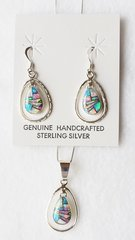 "Sterling silver blue, white and pink opal inlay egg in a hoop dangle earrings and 18"" sterling silver box chain necklace set. S034"