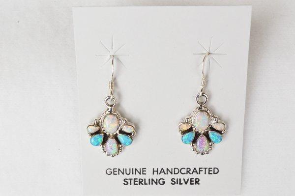 Sterling silver blue, pink and white opal multi teardrop dangle earrings. E135