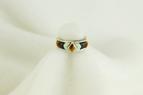 Sterling silver tiger eye, black onyx and white opal inlay ring. R038