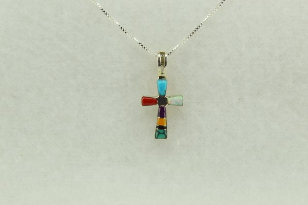 "Sterling silver multi color cross pendant with sterling silver 18"" box chain. N219"