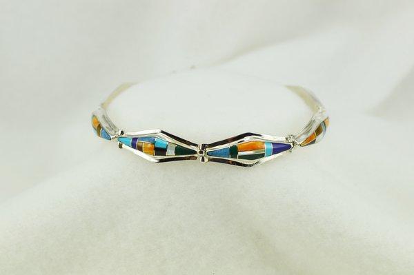 "Sterling silver multi color inlay link 7.25"" bracelet. B118"