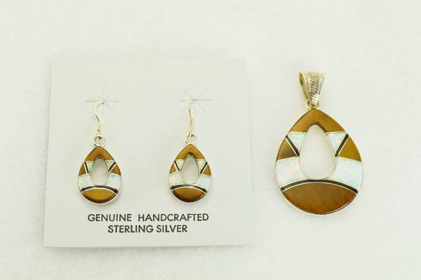 Sterling silver white opal, tiger eye and black onyx hollow raindrop dangle earrings and pendant set. S340