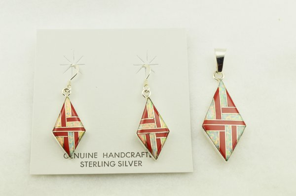 Sterling silver white opal and coral diamond shaped earrings and pendant set. S289