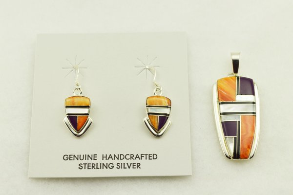 Sterling silver multi color inlay arrowhead earrings and pendant set. S301