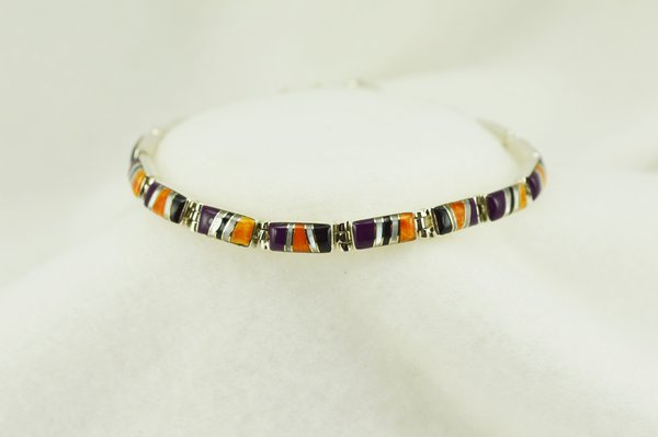 "Sterling silver multi color inlay rectangle link 7.5"" bracelet. B119"