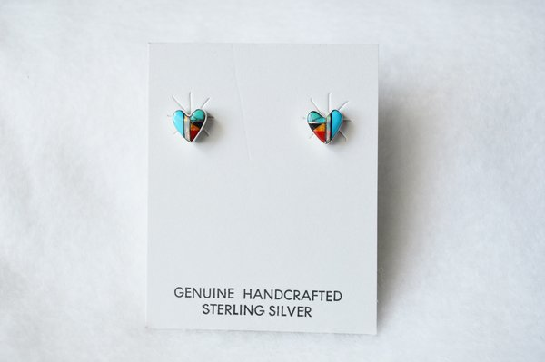 Sterling silver multi color heart inlay post earrings. E170