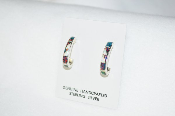 Sterling silver black and white opal inlay medium 3/4 hoop post earrings. E283