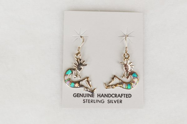 Sterling silver blue, pink and white opal inlay kokopelli dangle earrings. E137