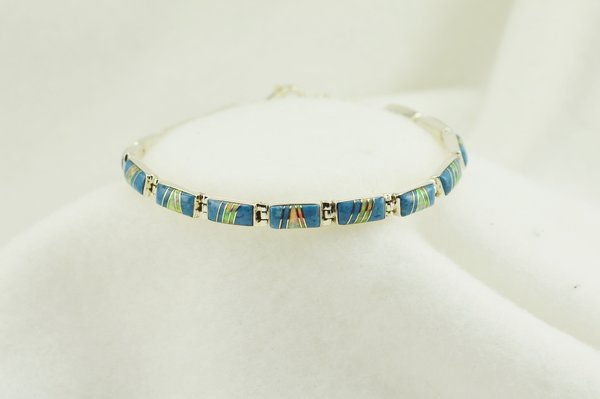 """Sterling silver denim lapis and white opal inlay link 7.5"""" bracelet. B053"""