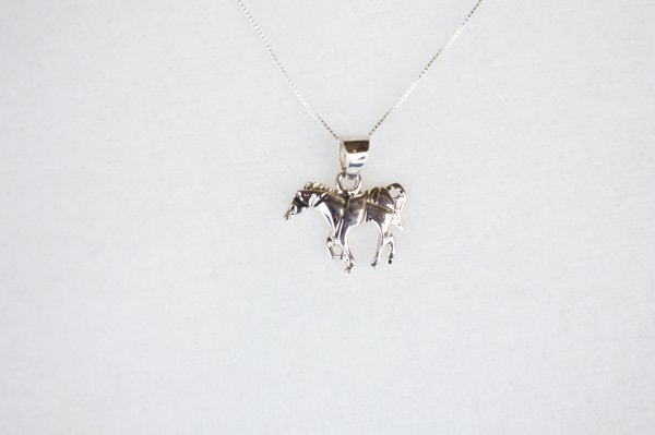 """Sterling silver horse pendant with sterling silver 18"""" box chain. N115."""