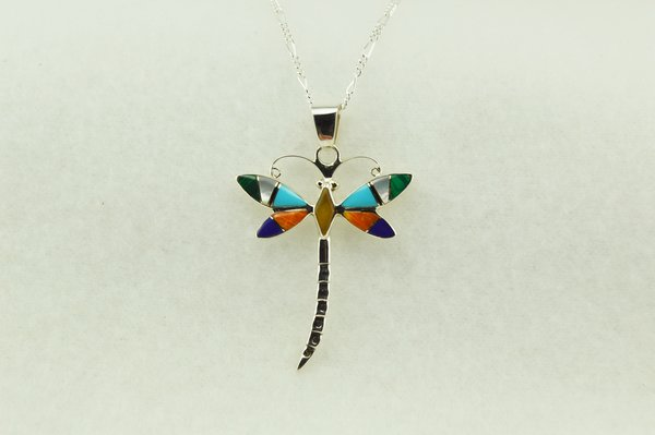 """Sterling silver multi color inlay dragonfly pendant with sterling silver 18"""" figaro chain. N158"""
