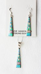 """Sterling silver blue, white and pink opal inlay tall triangle dangle earrings and 18"""" sterling silver box chain necklace set. S021"""