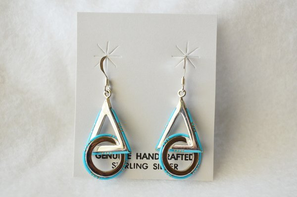 Sterling silver inlay turquoise circle/triangle dangle earrings. (E047)