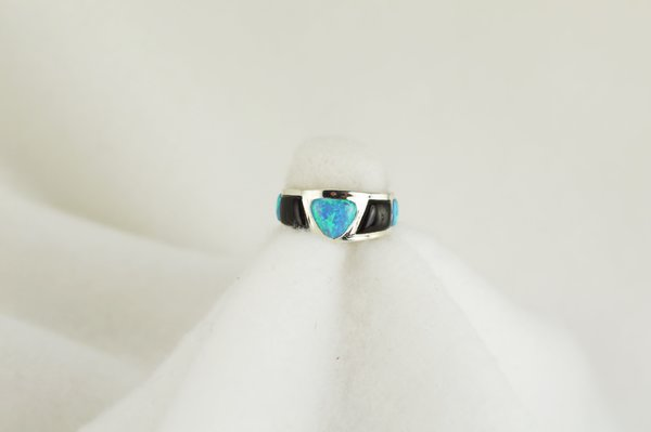 Sterling silver black onyx and blue opal ring. R052
