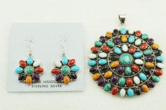 Sterling silver multi color inlay round earrings and pendant set. S153