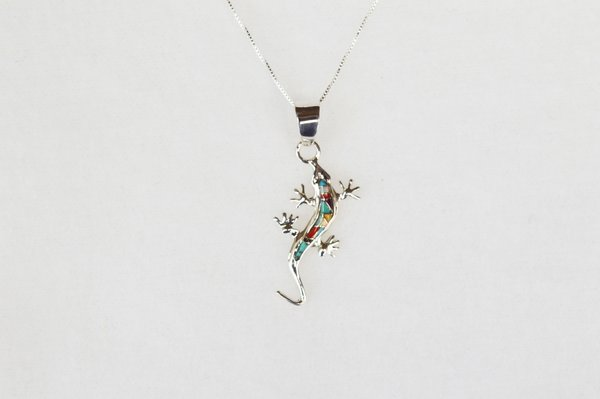 """Sterling silver multi color inlay lizard pendant with sterling silver 18"""" box chain. N013"""