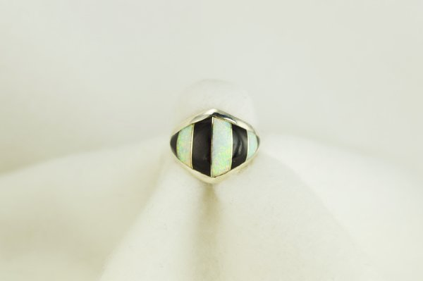 Sterling silver black onyx and white opal inlay ring. R074