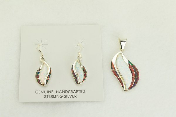 Sterling silver white and black opal inlay flame shaped dangle earrings and pendant set. S332