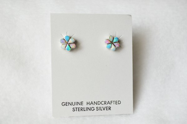 Sterling silver multi colored opal flower post earrings (E017)
