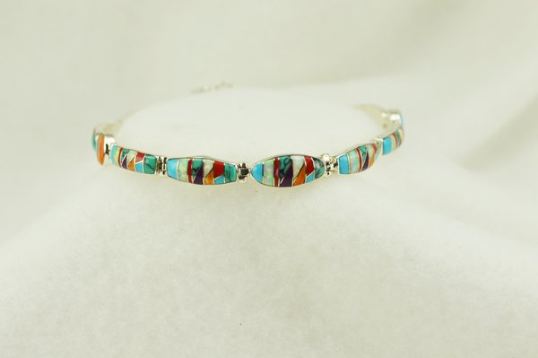 "Sterling silver multi color inlay link 7.5"" bracelet. B102"
