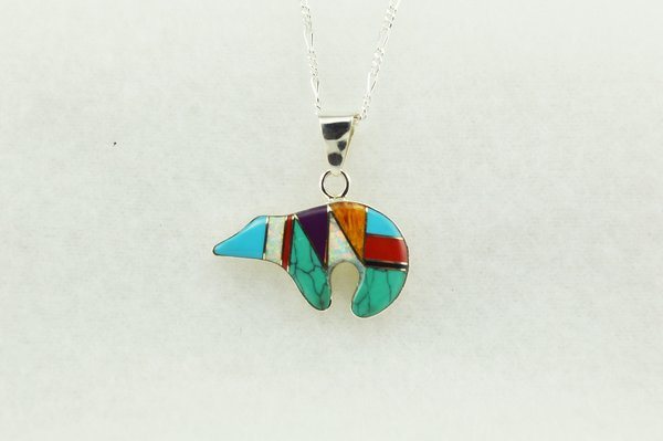 """Sterling silver multi color inlay spirit bear pendant with sterling silver figaro 18"""" chain. N138"""