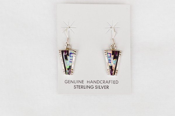 Sterling silver black onyx and white opal with lapis and sugilite inlay dangle earrings. E118