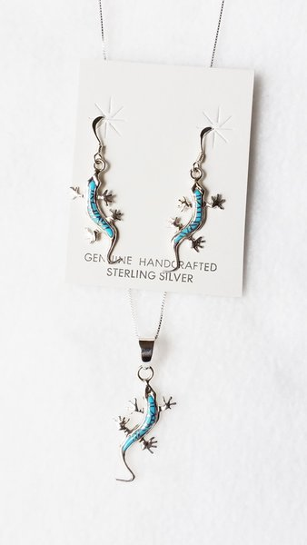 """Sterling silver turquoise inlay lizard dangle earrings and 18"""" sterling silver box chain necklace set. S075"""