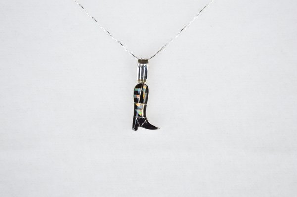 """Sterling silver white opal and black onyx inlay cowboy boot pendant with sterling silver 18"""" box chain. N106."""