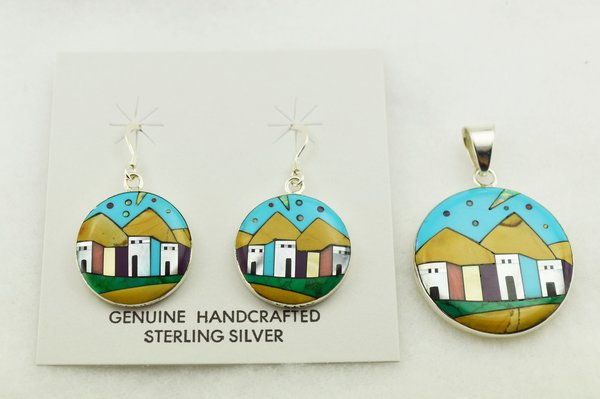 Sterling silver multi color inlay round adobe style earrings and pendant set. S295