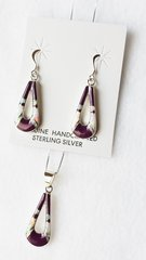 "Sterling silver white opal and sugilite inlay hollow teardrop dangle earrings and 18"" sterling silver box chain necklace set. S024"