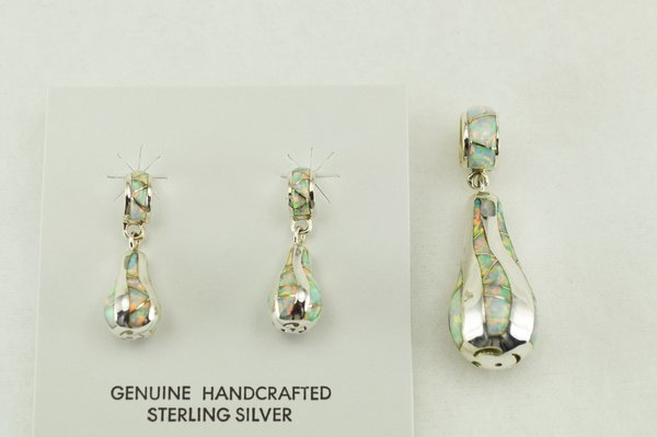 Sterling silver white opal inlay twisty pear shaped earrings and pendant set. S192