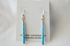 Sterling silver and turquoise stick dangle earrings. (E043)