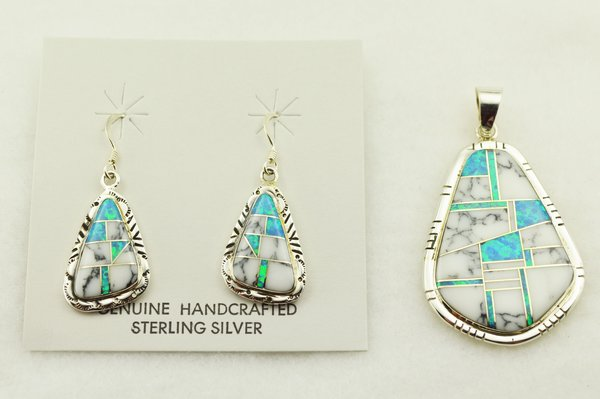 Sterling silver blue opal and howlite inlay nugget shaped earrings and pendant set. S306