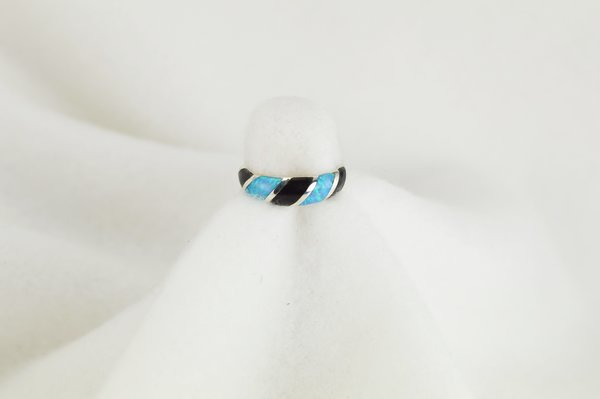 Sterling silver black onyx and blue opal inlay ring. R051