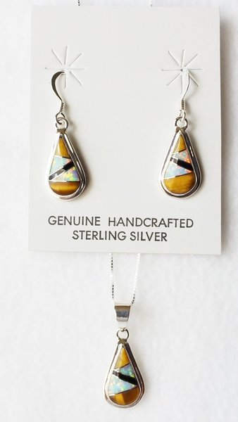 """Sterling silver white opal, tiger eye and black onyx inlay teardrop dangle earrings and 18"""" sterling silver box chain necklace set. S042"""