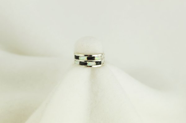 Sterling silver black onyx and white opal inlay ring. R071