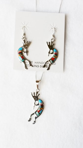 "Sterling silver multi color inlay kokopelli dangle earrings and 18"" sterling silver box chain necklace set. S097"