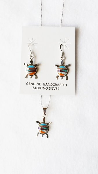 "Sterling silver multi color inlay turtle dangle earrings and 18"" sterling silver box chain necklace set. S096"