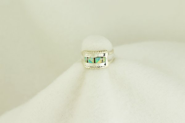 Sterling silver white opal, blue opal and black onyx inlay ring. R121