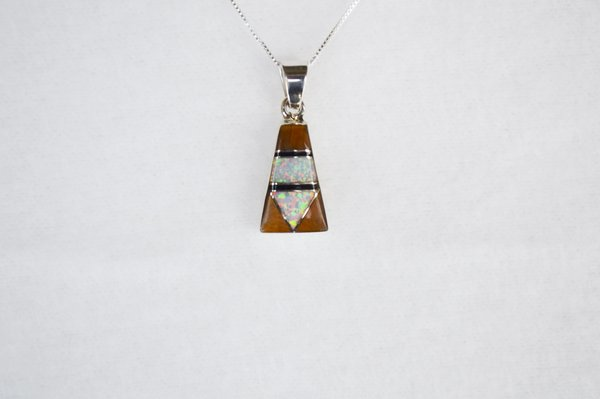 "Sterling silver white opal, tiger eye and black onyx inlay pillar pendant with sterling silver 18"" box chain. N108."