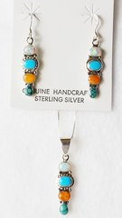 "Sterling silver multi color 4 spot dangle earrings and 18"" sterling silver box chain necklace set. S039"