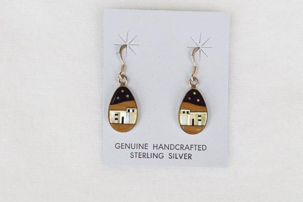 Sterling silver multi color/black onyx background adobe dangle earrings. (E040)