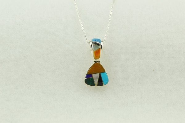 """Sterling silver multi color inlay pick shaped pendant with sterling silver 18"""" box chain. 16"""", 20"""" or 24"""" chains are available upon request. N274"""