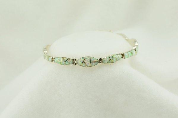 "Sterling silver white opal inlay link 8"" bracelet. B091"