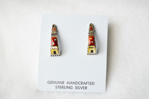 Sterling silver multi color adobe inlay w/coral background post earrings. E333